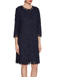 Gina Bacconi Primrose Guipure Lace Coat Spring Navy