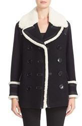 Burberry Women's 'Colstead' Wool Blend Coat With Leather And Genuine Shearling Trim