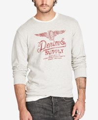 Denim And Supply Ralph Lauren Men's Graphic Print Pullover Sur Gry Gr