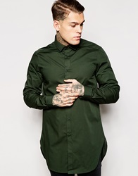 Asos Shirt In Super Longline With Long Sleeves Green