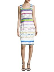 David Meister Printed Stretch Cotton Sheath Dress White Multicolor