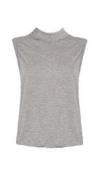 Tibi Gauzy Mock Neck Sleeveless Top