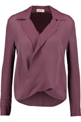 L'agence Rita Wrap Effect Washed Silk Georgette Blouse Grape