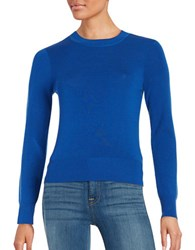 Dkny Cropped Merino Wool Crew Neck Sweater Blue