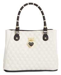 Betsey Johnson Swag Heart Triple Compartment Satchel Cream