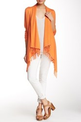 Cullen Long Sleeve Fringe Sharkbite Silk Blend Cardigan Orange