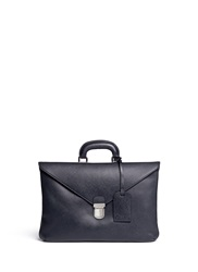 Giorgio Armani Saffiano Leather Flap Front Briefcase Blue