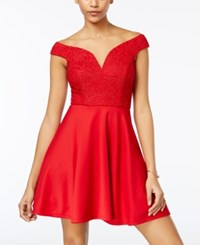 City Studios Juniors' Glitter Lace Fit And Flare Dress Red