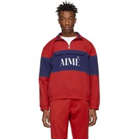 Aime Leon Dore Red And Blue Quarter Zip Pullover Jacket