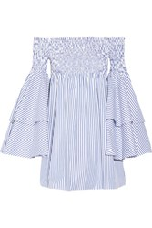 Caroline Constas Apollonia Off The Shoulder Smocked Striped Cotton Poplin Mini Dress Blue