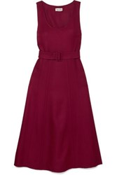 Paul And Joe Belted Wool Blend Twill Midi Dress Burgundy