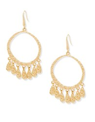Steve Madden Dangling Tear Drop Discs Earrings Gold