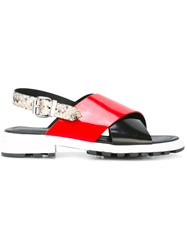 Kenzo Cross Front Sandals Women Calf Leather Goat Skin Rubber 40 Red