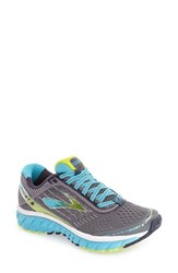 Brooks Women's 'Ghost 9' Running Shoe Silver Blue Atoll Lime Punch