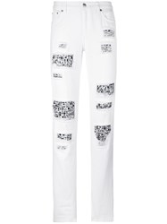 Michael Michael Kors Embellished Distressed Trousers White