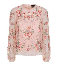 Needle And Thread Meadow Sheer Embellished Shirt Female Pink