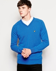 Lyle And Scott 1960 Jumper With V Neck In Lambswool Italianblue