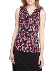 Tahari By Arthur S. Levine Printed Cowlneck Top White Black Multi