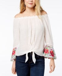 Amy Byer Bcx Juniors' Off The Shoulder Top Off White