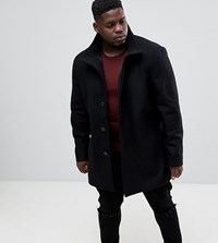 French Connection Plus Wool Blend Funnel Neck Coat Black
