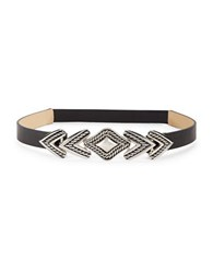 Steve Madden Braided Metal Buckle Faux Leather Belt Black