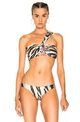 Baja East Wrap Bandeau Bikini Top In Animal Print Green Yellow Animal Print Green Yellow