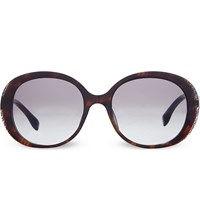 Fendi Ff0001 Oval Sunglasses Black Brown