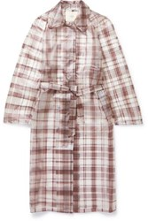 Maje Belted Checked Rubberized Pu Trench Coat Gray