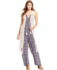 Joe And Elle Juniors' Crochet Fringe Vest