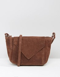 Asos Festival Suede Cross Body Bag With V Front Chocolate Brown
