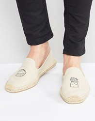 Soludos Embroidered Burger And Fries Espadrilles Beige