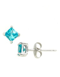 Lord And Taylor Square Cubic Zirconia Solitaire Earrings Blue