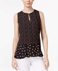 Maison Jules Heart Print Peplum Top Only At Macy's Black Combo