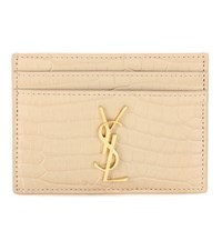 Saint Laurent Monogram Embossed Leather Card Holder Beige