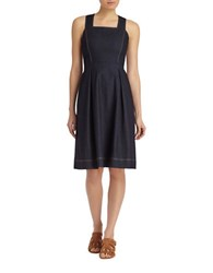 Lafayette 148 New York Isabelli Cotton Blend Dress Midnight