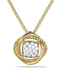 David Yurman Infinity Pendant With Diamonds On Chain Yellow Gold