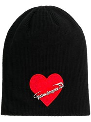 Palm Angels Heart Safety Pin Hat Black