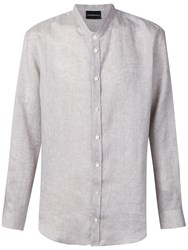Emporio Armani Band Collar Shirt Grey