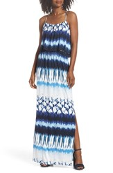Felicity And Coco Lilah Popover Maxi Dress Blue Tie Dye