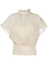 Red Valentino Lace Up Blouse Nude Neutrals