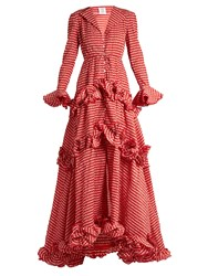 Rosie Assoulin Ruffled And Crinkled Gingham Gown Red Print