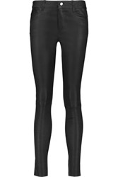 Muubaa Eccelston Mid Rise Stretch Leather Skinny Pants Black