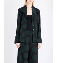 Mcq By Alexander Mcqueen Circle Print Crepe Lounge Shirt Evergreen