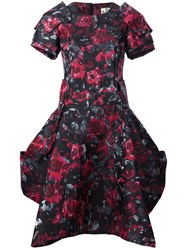 Comme Des Garcons Floral Print Structured Dress Black