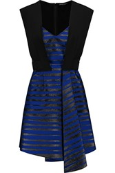 Jonathan Saunders Gabriella Metallic Crepe And Twill Dress Blue