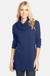 Petite Women's Caslon Side Slit Cowl Neck Tunic Blue Twilight