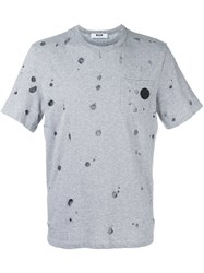 Msgm Damaged T Shirt Grey