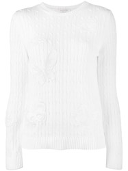 Valentino Floral Applique Cable Knit Jumper White