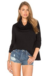 Bobi Light Weight Jersey Cowl Neck Long Sleeve Top Black