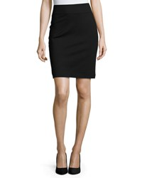 Neiman Marcus Pull On Ponte Pencil Skirt Black